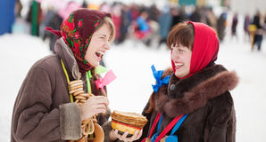 Girls celebrating  Shrovetide Stock Photo