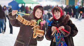 Girls celebrating  Shrovetide Royalty Free Stock Photography