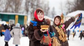 Girls celebrating  Shrovetide  at Russia Royalty Free Stock Image