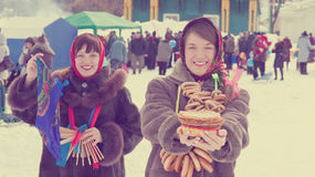 Girls celebrating Shrovetide at Russia royalty free stock photography