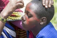 Girls in ceremonial paint, Maasi Village, Ngorongoro Conservatio Stock Photography