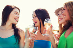 Girls with champagne glasses Royalty Free Stock Photo