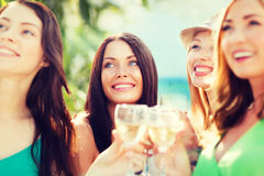 Girls with champagne glasses Royalty Free Stock Photography