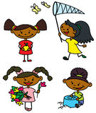 Girls characters. Set with cute afroamerican girls caracters, color version Royalty Free Stock Image