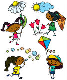 Girls characters. Set with cute afroamerican girls characters, color version Stock Images
