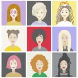 Girls characters set with different hairstyles.Colorful illustration vector illustration