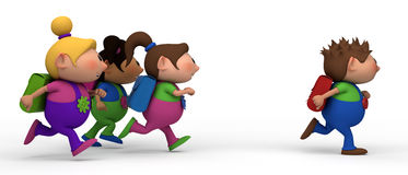 Girls chasing boy. School kids running from left to right - three girls chasing a boy - back to school concept Stock Photography