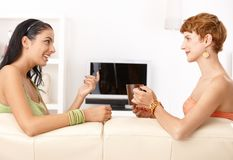 Girls chatting. On sofa, smiling, drinking, side view royalty free stock image