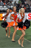 Girls cheerleading dance on field Royalty Free Stock Photo