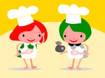 Girls Chef In An Apron And Chefs. Hat, Holding A Spoon Stock Images