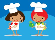 Girls Chef  Holding A Spoon Royalty Free Stock Photo