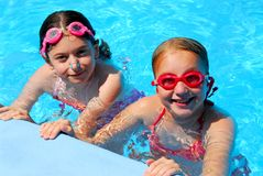 Girls children pool Stock Image