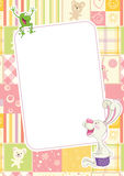Girls childrens frame with rabbit and frog Royalty Free Stock Photo