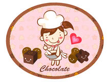 A girls Chocolatier in Making chocolate. Valentine Character Des Royalty Free Stock Photography