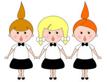 Girls Choir. Cartoon character Stock Photography