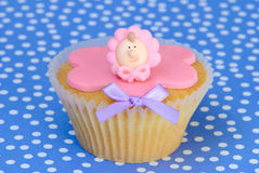 Girls Christening Cupcake Royalty Free Stock Photos