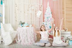 Girls in a Christmas decorations Stock Photography