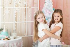 Girls in a Christmas decorations Stock Photo