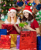 Girls with christmas gift. Girls near decoration spruce with christmas gift Royalty Free Stock Images