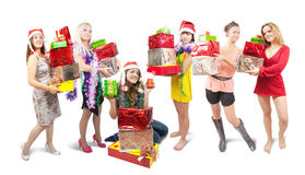 Girls with christmas gifts Stock Photography