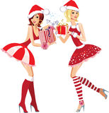 Girls with christmas gifts in boxes Royalty Free Stock Photography