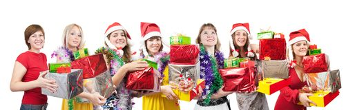 Girls with christmas gifts over white Royalty Free Stock Images