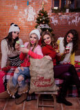 Girls on Christmas. Girls are having fun on Christmas royalty free stock image