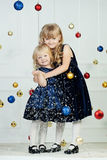 Girls at Christmas time Royalty Free Stock Photography
