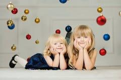 Girls at Christmas time Stock Photo