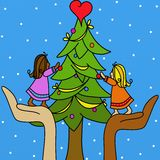 Girls and Christmas tree Stock Photos