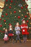 Girls and christmas-tree Stock Photos