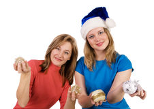 Girls with Christmas tree balls Stock Photo