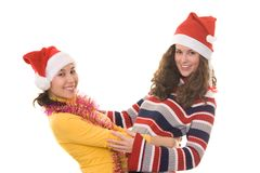 Girls on Christmass Stock Images