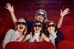 Girls in a cinema Royalty Free Stock Images
