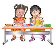 2 girls in class bored and tired at desk. Girls 3-d 3d tired bored study asian divers diversity colorful desk girlfriend school friends royalty free illustration