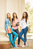 Girls after classes Stock Photo