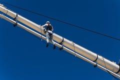 Girls climbing mast royalty free stock photography