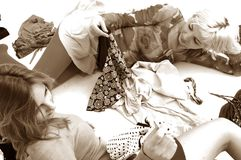 Girls and clothes Royalty Free Stock Photo