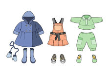 Girls clothes set. Various clothing for young children Royalty Free Illustration