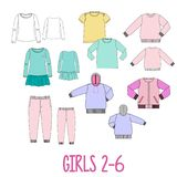 Girls clothes set technical sketches. Big technical drawing set of clothes for girls 2 and 6 years old Royalty Free Stock Images