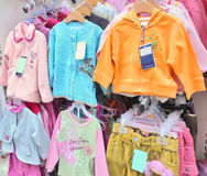Girls' clothes in a store Stock Photo