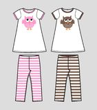 Girls clothing. Cute top with owl pattern and striped leggings in two different color combinations Royalty Free Stock Image