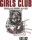 Girls club 92. Graphic design consisting of a postage stamp written badges vector illustration