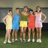 Girls and coach. Stock Photos