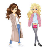 Girls In Coat And Fur. Vector illustration of two city girls in coat and fur stock illustration