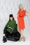 Girls in coats posing at stidio Royalty Free Stock Photos