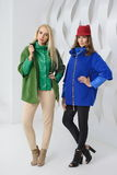 Girls in coats posing at stidio Royalty Free Stock Photo