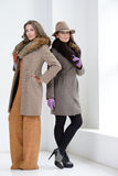 Girls in coats posing at studio Royalty Free Stock Photos