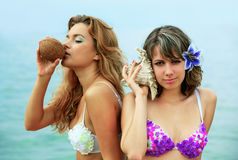 Girls with coconut Stock Photo