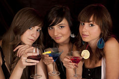 Girls with coctail Royalty Free Stock Images